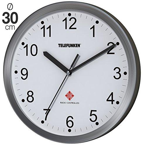 Telefunken FWU-30-B (WF) Funk-Wanduhr Funkuhr mit autom. Zeitumstellung Alu Rahmen 30cm Ø schlicht (Weißes Ziffernblatt)