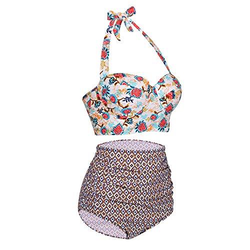 FeelinGirl Damen Push Up Gefütterte Neckholder Zwei Stück Badeanzüge Bikini Set Bademode M -
