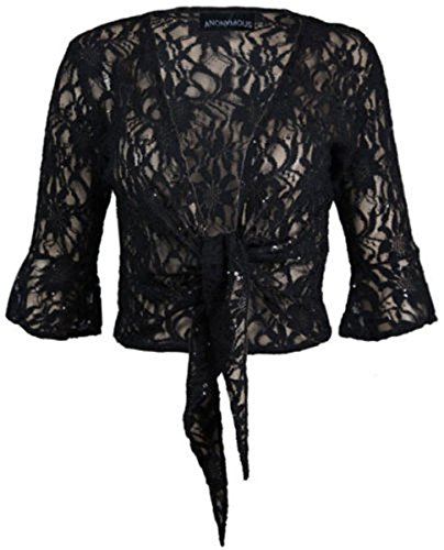 Donna Plus Dimensioni Gliltter paillettes 3/4Manica bolero Tie Up Shrug cardigan 12–26 Black