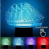 Novità Barca a vela 3d luz nocturna LED 7colores que cambian lámpara de mesa Kid Regalo Juguete Regalo de cumpleaños regalo de Navidad