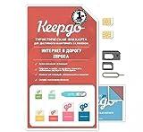 Keepgo - Internationale 4G LTE SIM-Karte - Europa, Asien, Australien, Südamerika & Nordamerika - über 100 abgedeckte Länder - 1 GB Datenvolumen inklusive