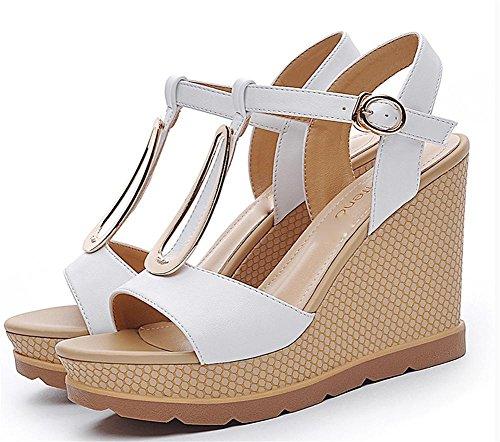 pengweiLe signore ei sandali in pattini estivi adattano tacchi alti White