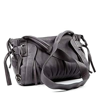 BACCINI sac bandoulière femme MONA - grand - sac en cuir avec bretelle - sacoche gris en cuir véritable (38 x 28 x 11 cm)