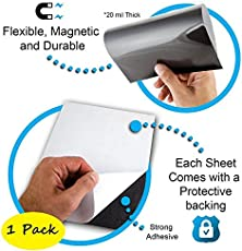 LifeKrafts Flexible Peel and Stick Magnetic Adhesive Sheets, 12x12 Inches (Black) - Set of 1