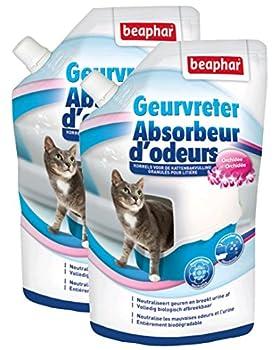 Beaphar Absorbeur d'odeurs en granulés parfum Orchidée - litière du chat - 400 g - Lot de 2
