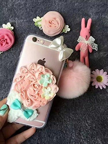 Coque iPhone 6 Plus/6S Plus , iNenk® Le nouveau trois dimensions de tissu Lollipop dentelle romantique Fleur Doux Coquille TPU Amour Housse Transparent Blanc Rose Vert de protection-tous rose Fleur rose
