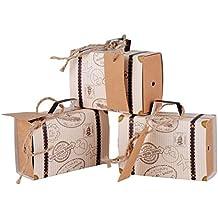 100 x Cajas de Caramelo Dulces Bombones para Boda 7.7*2.7*5cm Fiestas Cumpleaños Bautizo en forma de Tronco Conjunto Cuerdas de Cáñamo y Tarjeta