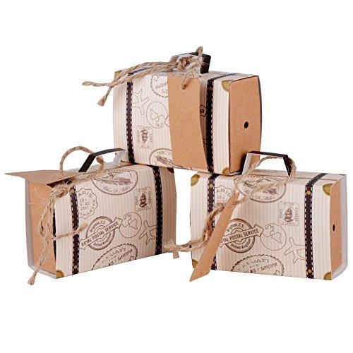 Especificaciones:   Material: papel  Longitud de la cuerda: aproximadamente 26,5 cm  Tamaño de cajas: aproximadamente 7,7 * 2,7 * 5 cm  El paquete incluye: 100 piezas mini cajas de equipaje, 100 piezas cuerdas, y 100 piezas pequeñas tarjetas    Car...