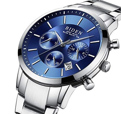 Reloj,Relojes Hombre, Reloj analógico digital Moda deportiva multifunción a prueba de agua fecha de la alarma de goma negro reloj de pulsera (Azul plateado)