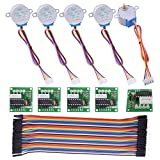 Stepper Motor for Arduino Kuman 5 sets 28BYJ-48 ULN2003 5V Stepper Motor + ULN2003 Driver Board + Dupont Wire 40pin Male to Female Breadboard Jumper Wires Ribbon Cables K67