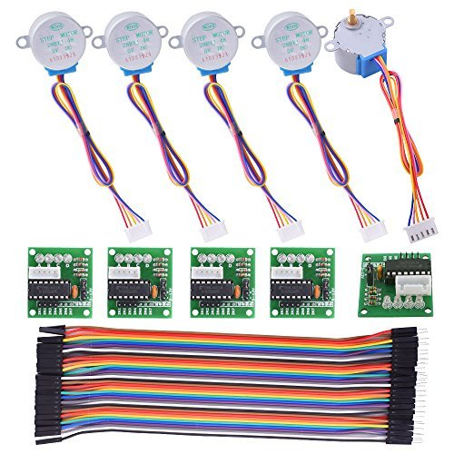 Stepper Motor for Arduino Kuman 5 sets 28BYJ-48 ULN2003 5V Stepper Motor + ULN2003 Driver Board + Dupont Wire 40pin Male to Female Breadboard Jumper Wires Ribbon Cables K67 (5v Ac-set)