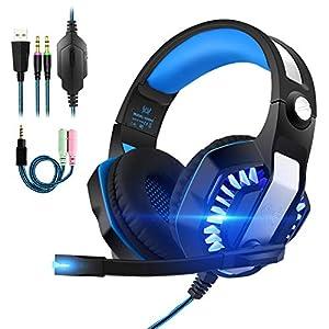 Gaming Headset Kopfhörer mit Mikrofon USB/3.5mm On Ear Surround Sound Ohrhörer und Lautstärkeregelung für PS4 Xbox One PC Laptop Tablet Blau(GM-2)