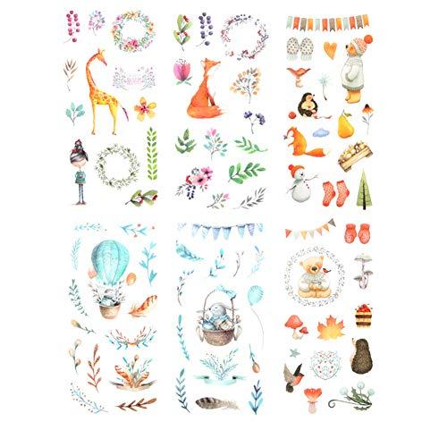 Leisial 6 Seiten Tier Scrapbooking Aufkleber Mädchen Aufkleber Katze Kinder Aufkleber Sticker DIY Tagebuch Scrapbooking Kinder Notebook Aufkleber 8 * 16CM A