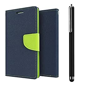 D'clair Combo of Flip Cover with Stylus for HTC Desire 620 Blue Green