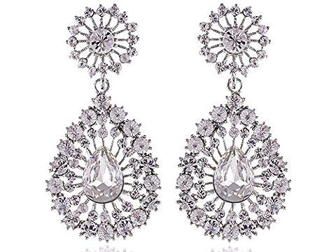 Alilang Elegantly Silvery Tone Big Pear Shape Faux Diamond Clear Crystal Rhinestone Dangle Drop