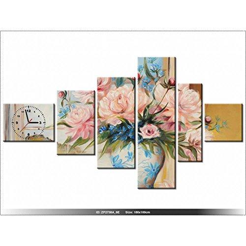 Art-Gallery XXL–180x 100cm–Las Flores En El Jarrón–Reloj de pared cuadro–Deco moderno–New Design