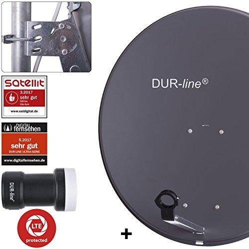 DUR-line MDA 80 Anthrazit - Digiatale 1 Teilnehmer Satellitenschüssel Komplett-Anlage mit +Ultra Single - LNB [Camping, Astra 19,2°, DVB-S/S2, Full HD, 4K, 3D]