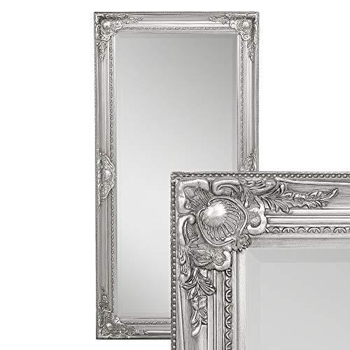 LEBENSwohnART Wandspiegel LEANDOS 100x50cm Silber Antik barock Design Spiegel pompös Facette