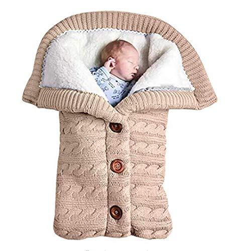 Schlafsäcke Baby Winter,Neugeborenes Baby Gestrickt Wickeln Swaddle Decke Kinderwagen Schlafsack für 0-24 Monat Baby (Beige, 68x 40cm)