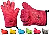 2er Set BBeeQ Ofenhandschuhe Silikon und Baumwolle - hitzebeständig bis 300C - zum Grillen, Kochen, Backen - Topfhandschuhe, Grillhandschuhe - Pink / Rosa
