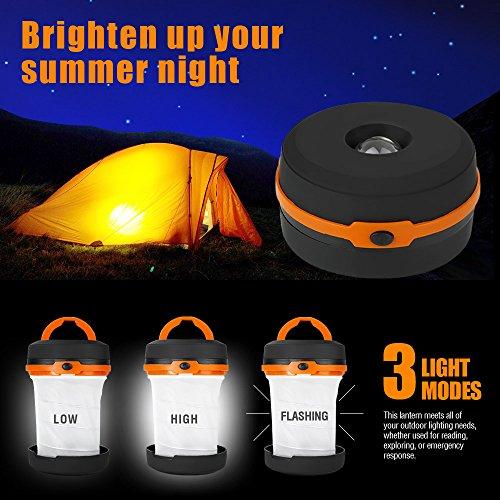 LE Laterne Zusammenklappbare led Taschenlampe mini LED Notfallleuchte 3 Helligkeiten Aussenleuchte für Camping Outdoor Wandern Angeln Abenteuer Campinglampe Ausfälle (1 er) - 3