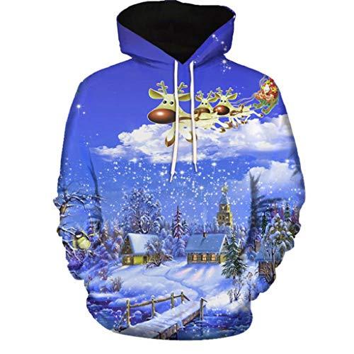 Soupliebe Frau Herbst Winter 3D Weihnachten Langarm Pullover Top Bluse Kapuzen Langarmshirt Sweatjacke Kapuzenpullover Hoodie Sweatshirt