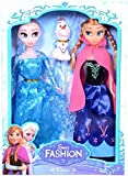 #7: Flick InGirl's Plastic Frozen Princess Sisters Anna and Elsa Dolls with Snow Olaf (Multicolour)