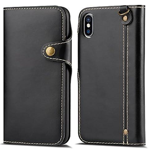 Coque iPhone X Noir, HOHONG® iPhone X Étui luxe Housse Coque Portefeuille / Avec des fentes de cartes Housse Cuir pour iPhone X (Ten)