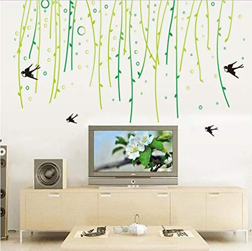 Chenghao's shop Vinyl Wasserdicht Selbstklebende Willow Tree Swallows Wohnzimmer Wandschmuck Familie Aufkleber An Der Wand 88X160Cm
