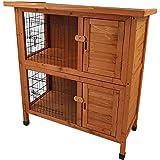 Hasenstall MOPPEL 1 mit 2 Etagen Kaninchenstall aus FSC Holz Kaninchenkäfig für 2 Tiere Hasenkäfig Käfig Stall