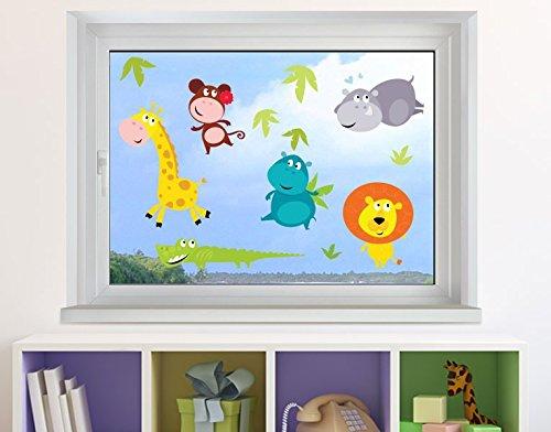 Klebefieber Fenstersticker Dschungeltiere Babys B x H: 30cm x 30cm