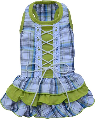 Doggy Dolly D296 Hundekleid mit Schnürung, grün Kariert, Größe : S