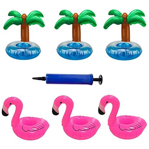 BigLion luftmatratze wasser 3 Aufblasbare Flamingo Untersetzer Palme Trink Halter mit Luftpumpe 3 Palme Aufblasbar Getränk Halter Rosa