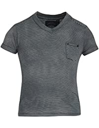 GRAIN Girl's Striped Poly Cotton Grey T-Shirts