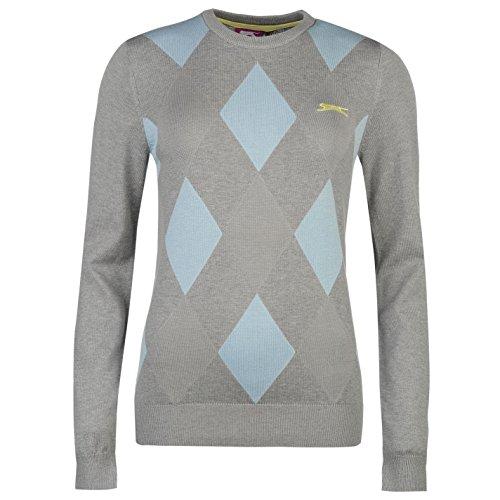 Slazenger Damen Argyle Golf Pullover Langarm Rundhals Muster Strickpullover Grey/Blau 10 (S)
