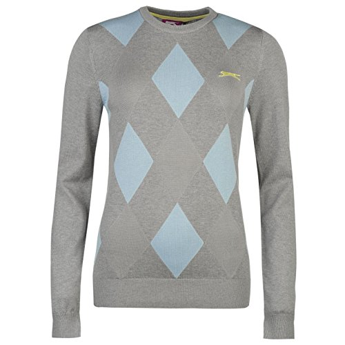 Slazenger Damen Argyle Golf Pullover Langarm Rundhals Muster Strickpullover Grey/Blau 14 (L) (Langarm-pullover Golf)