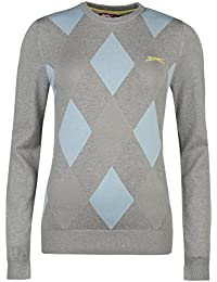 Slazenger Damen Argyle Golf Pullover Langarm Rundhals Muster Strickpullover