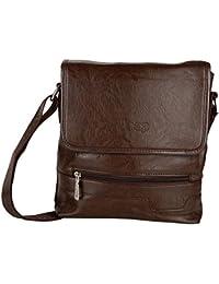 Shopigator Men's And Women Black Cross-Body Sling Bag, Leather Look Sling Bag, Small Cross Body Bag Unisex (Brown)