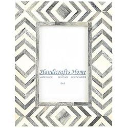 Handicrafts Home 4x 6Bilderrahmen Grau Weiß Knochen Marokkanisches Mosaik Bilderrahmen für Fotos–Zig Zag, 4x 6