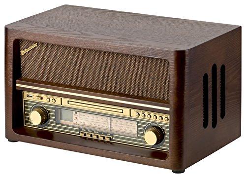 Roadstar HRA-1540 Nostalgie Retro-Radio mit Bluetooth und CD / MP3 Player im Holzgehäuse, 32 Watt Musikleistung (Bluetooth, USB, AUX-In), braun