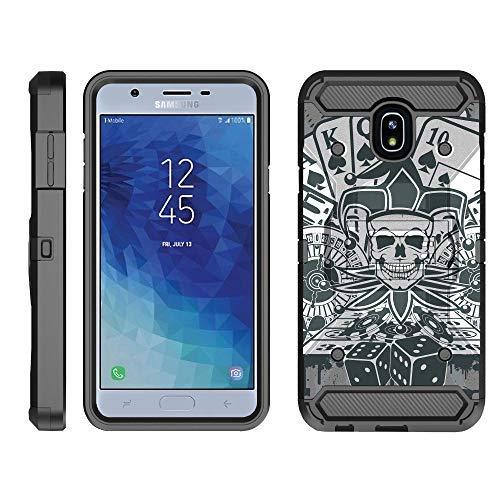 TurtleArmor Schutzhülle für Samsung Galaxy J7 (2018) J737 [Armor Pro] Ganzkörperabdeckung, Armor Gürtelclip mit Ständer, robust, Joker Skull