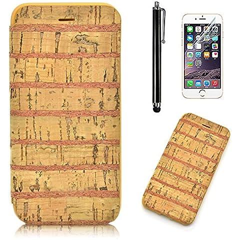 iPhone 7 plus Custodia, iPhone 7 plus Cover, Sunroyal® Ultra Slim Flip Wooden Custodia Cover Case in Natura Legno Bambù Copertura Morbida di TPU Bumper per iPhone 7 plus (5.5