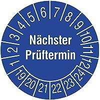 Labelident Prüfplaketten - Nächster Prüftermin, Mehrjahresprüfplakette, Zeitraum 2019-2024, Ø 15 mm, 24 Stück, Polypropylen Folie blau, Aufdruck weiß