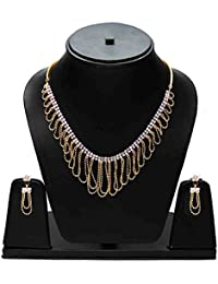 ESHOPITUDE Stylish Traditional CZ American Diamond Gold Plated Beads String Necklace Set & Earrings Set For Women