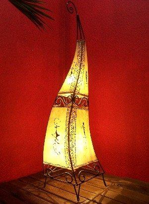 Orientalische Stehlampe Marrakesch Natur 100cm Lederlampe Hennalampe Lampe | Marokkanische Große Stehlampen aus Metall, Lampenschirm aus Leder | Orientalische Dekoration aus Marokko, Farbe Natur