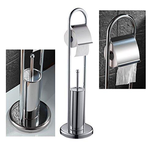 Auralum® Edelstahl Toilettenpapierhalter + Klobürste Set Toilettenbürste Rollenhalter WC Garnitur Bürste