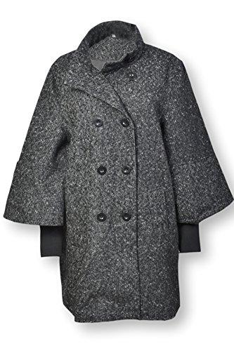 Mantel Cape 3/4Damen Byoung Wolle/Polyester Grau Größe 44Ende Collection Gr. 32, Grau