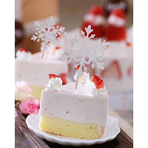 WINOMO 10pcs Schneeflocke Cupcake Topper für Hochzeit Geburtstag Party Dekoration (Silber)