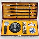 CHENGYIDA hochwertige chinesische Kalligraphie Pinsel / Kanji / Sumi, 10er Set für die chinesische Kalligraphie, Pinsel, Tinte, Tasche und Haken für das Schreiben