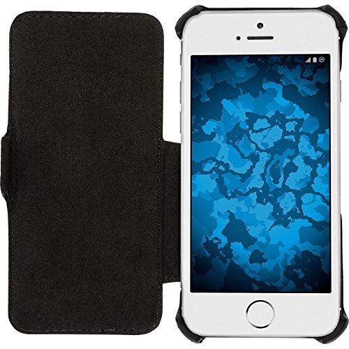 PhoneNatic Echt-Lederhülle für Apple iPhone 6s / 6 Leder-Case rosa Tasche iPhone 6s / 6 Hülle + Glasfolie Schwarz
